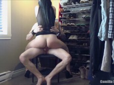 Sexy Slut In Lingerie Rides Hard Cock On A Chair Until He Cums In Her Pussy