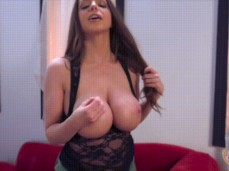 super HOT brunette with sexy big tits teasing us