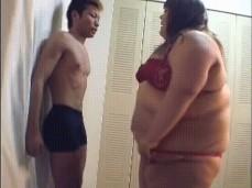 BBW Rams into skinny man