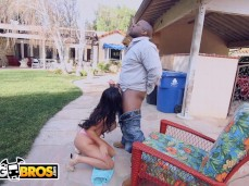 Nikki Benz backyard interracial ball licking